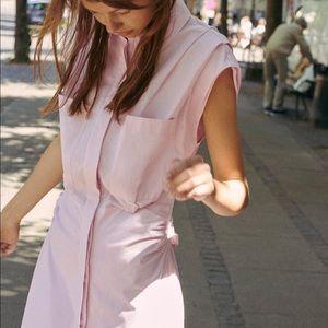 Zara Ruched Poplin Dress in Light Pink